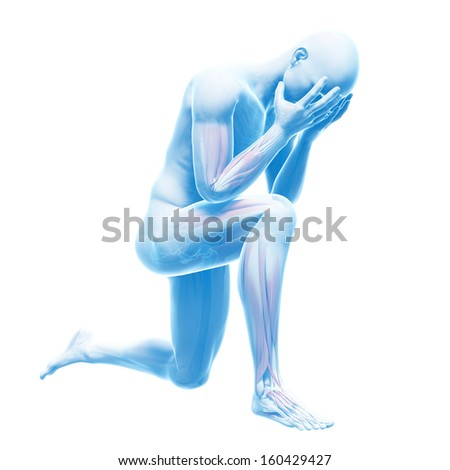 depression illustration - visible anatomy - stock photo