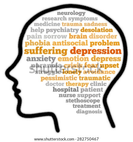 Depression in word cloud concept - stock photo
