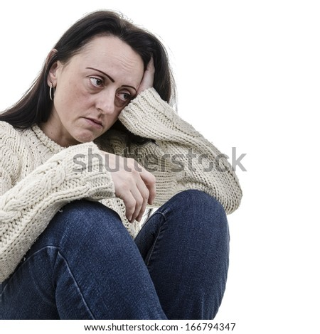 depression, sad woman sitting alone with white background - stock photo