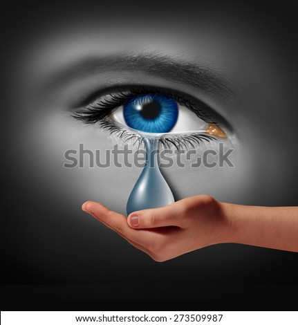 Depression support and therapy concept as a depressed human eye crying a tear held by a helping hand as a metaphor for solutions in the the treatment of mental health or psychotherapy medication. - stock photo