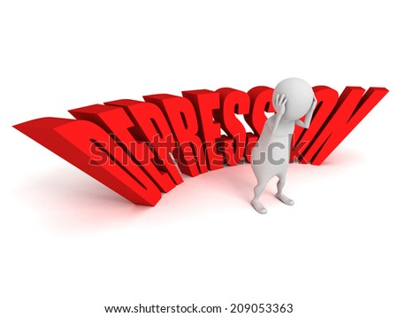 Depression word white 3d person sadness. 3d render illustration - stock photo