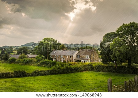 Derbyshire cottages in the Peak District, England, UK - stock photo