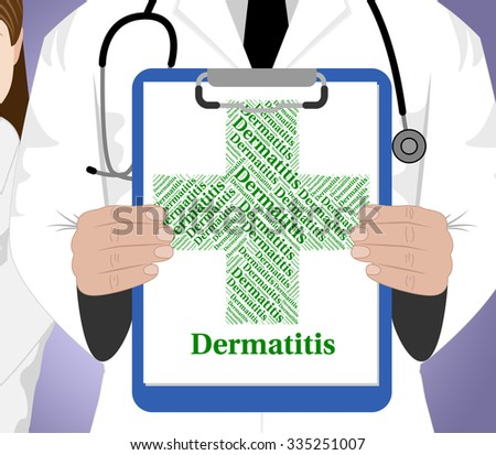 Dermatitis Word Meaning Skin Disease And Malady - stock photo