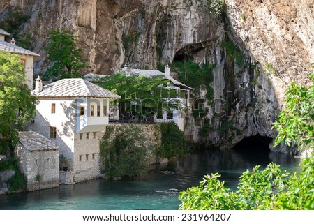 Dervish house in Blagaj, near the Mostar, Bosnia and Herzegovina - stock photo
