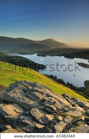 Derwent Water and Blencathra from Cat Bells, English Lake District - stock photo