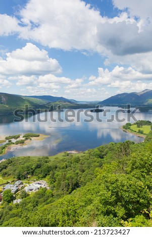 Derwent Water Lake District National Park Cumbria England uk near Keswick with surrounding fells and mountains  - stock photo