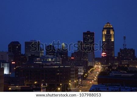 Des Moines, Iowa skyline - stock photo