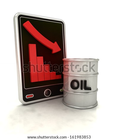 descending graph of oil production on smart phone display illustration - stock photo