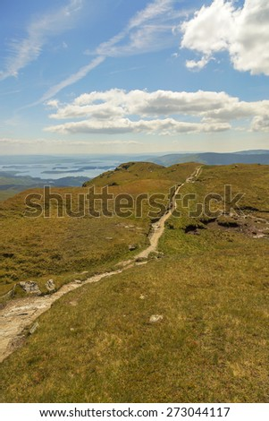 Descending path off Ben Lomond in Scotland, UK  - stock photo