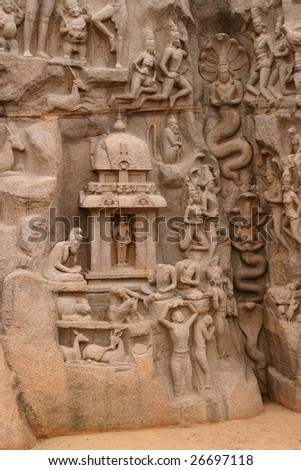 Descent of the Ganges river in Mamallipuram - stock photo
