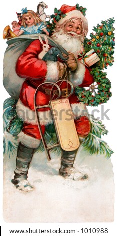 Description: A vintage Christmas illustration of Santa Claus with a bag of gifts (circa 1890) - stock photo