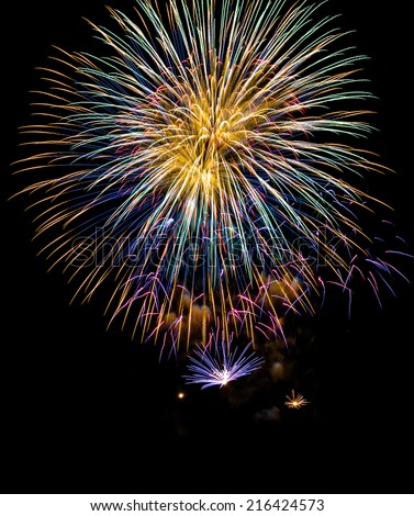 Description:  Fireworks display above Magic Island in Honolulu Hawaii. Title:  Fireworks Finale. - stock photo