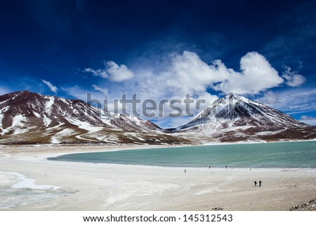 Desert and mountain on Altiplano,Bolivia - stock photo