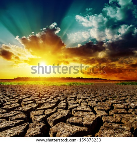 desert and sunset over it - stock photo