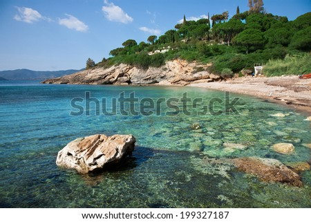 desert beach surrounded by nature and crystal clear sea in Elba Island - stock photo