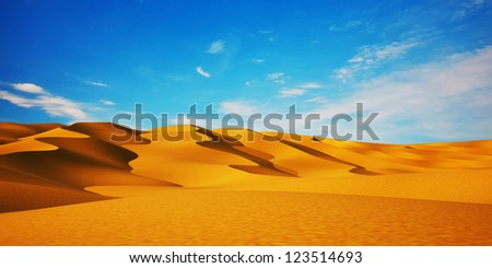 Desert & blue sky - stock photo