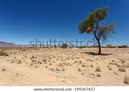Desert Camp at Sossusvlei in the Namib Desert, Namibia, Africa - stock photo