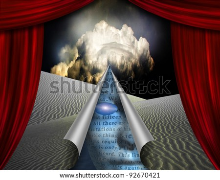 Desert curtain scene opened to another - stock photo