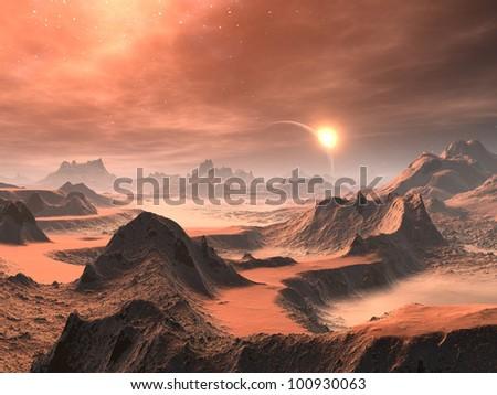 Desert Dawn on Distant World - stock photo