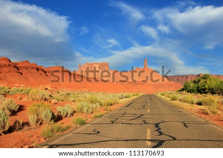 Desert Highway in Castle Valley, Utah, USA. - stock photo