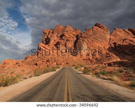 Desert highway in Valley of Fire Nevada. - stock photo