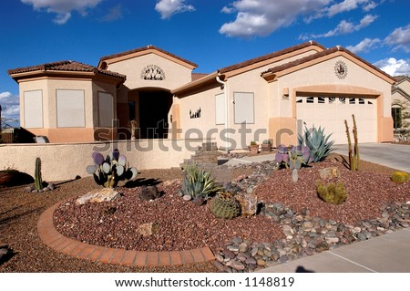 Desert Home, Green Valley Arizona with a xeriscape front yard. - stock photo