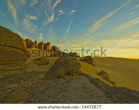 Desert in the algerian sahara - stock photo