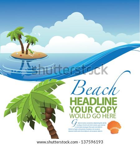 Desert Island Ad Poster Marketing Design Layout Template. jpg - stock photo