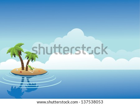 Desert Island Background. jpg - stock photo