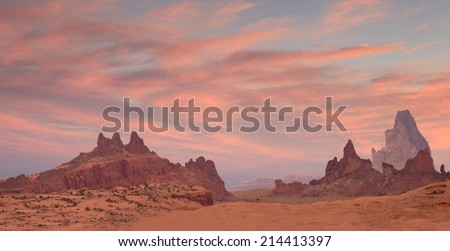 Desert Landscape at Sunset - stock photo