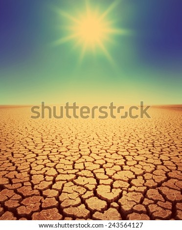 Desert landscape background global warming concept. Retro stale. - stock photo
