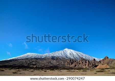Desert Landscape in Volcan Teide National Park, Tenerife, Canary Island, Spain - stock photo