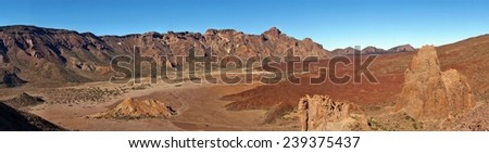 Desert landscape in Volcano Teide National Park, Tenerife, Canary Island, Spain, UNESCO World Heritage Site - stock photo