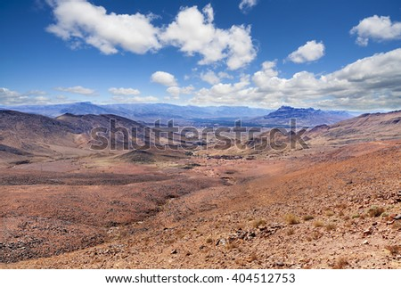 Desert mountain scenery.Moroccan desert scenic landscape. - stock photo