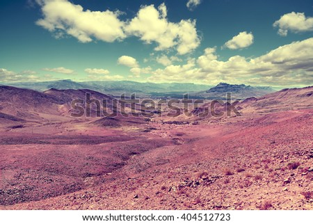 Desert mountain scenery.Retro vintage style.Moroccan desert scenic landscape. - stock photo