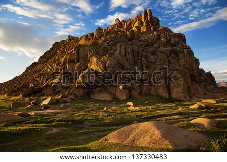 Desert mountains in the valley of Khovd river, Western Mongolia - stock photo