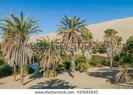 Desert oasis Huacachina near Ica, Peru - stock photo