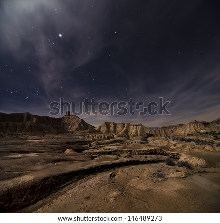 Desert of Bardenas at night - stock photo