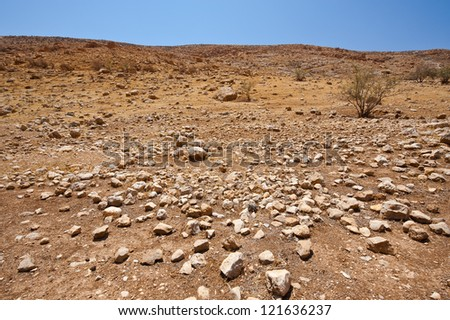 Desert on the West Bank of the Jordan River - stock photo