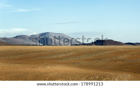 Desert plateau of the Altiplano, Bolivia - stock photo