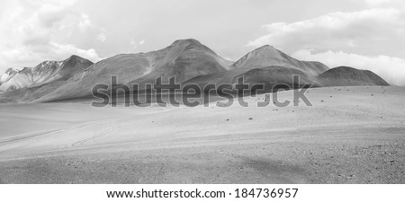 Desert plateau of the Altiplano (panorama), Bolivia (black and white) - stock photo