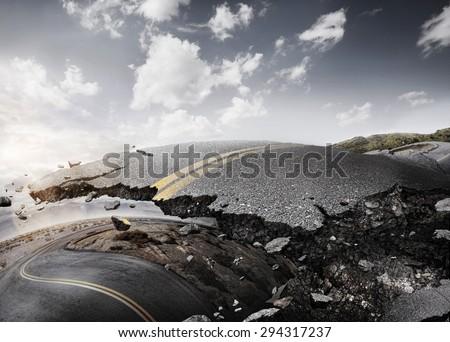 Desert road. Design concept for a sport background. - stock photo