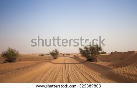 Desert sand road - stock photo