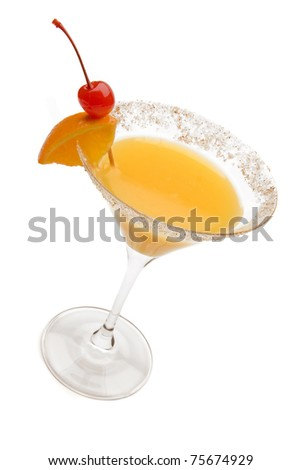 Desert Sand Tequila Sunrise Cocktail against a white background. - stock photo