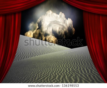 Desert sands seen through opening in curtains - stock photo