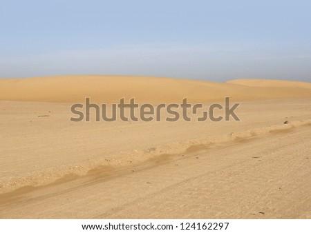 desert scenery around Birket Qarun in Egypt - stock photo