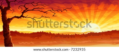 "Desert tree. This is a more lifeless variation of my previous work ""Big city sunset panorama"" (other landscapes are in my gallery) - stock photo"