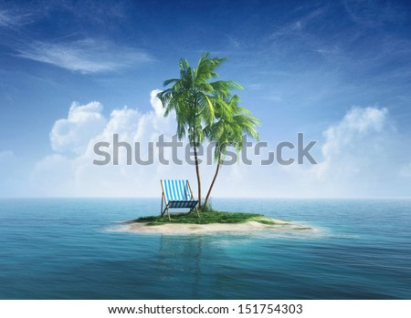 Desert tropical island with palm tree, chaise lounge. Concept for rest, holidays, resort, travel. - stock photo
