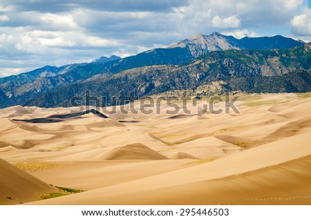 Desert Valley at Great Sand Dunes National Park - stock photo