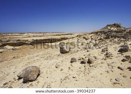 desert view of Jiddat Al Halasis in Oman - stock photo
